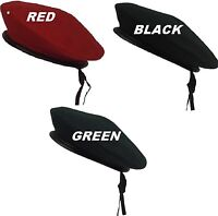 RED-GREEN-BLACK G.I. Style Military Army Wool Monty Beret Hat 45991-45992-45993