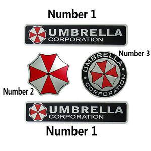For Resident Evil Umbrella Corporation Car Metal 3D Badge Emblem Sticker Decal