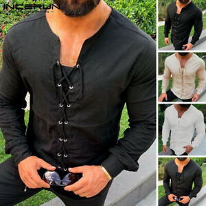 Men-039-s-Medieval-Shirt-Long-Sleeve-Lace-Up-Tops-Pirate-Landlord-Knight-Tunic-Tops