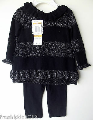First Impressions Black/Silver 2PC Baby Girl Sweater Outfit 0-3 Month NWT G82500