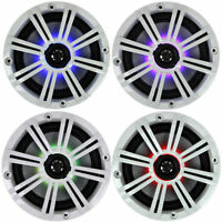 4-speakers Kicker 6.5 195w Marine Audio Coaxial Color Led Lights White Grills