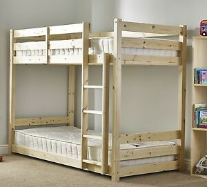 3ft Single Size Solid Pine Heavy Duty Bunk Bed Wooden Frame Eb23