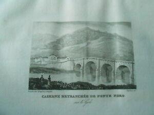 Gravure Sur Acier 1838 - Corse Caserne Retranchée De Porte Noro Les Clients D'Abord