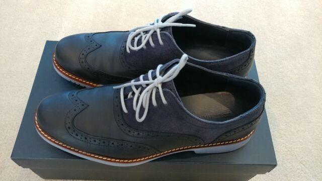 COLE HAAN Great Jones Wingtip Navy Blue Leather Men's Sz 9 M