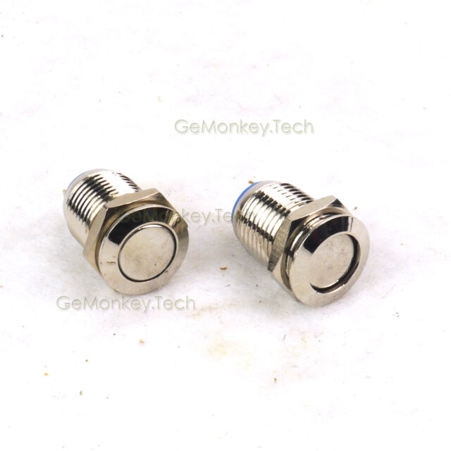 2 PCS 12mm Brass Nickel Plating Switch Latching Push Button IP67 3A/250VAC 2 PIN