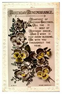 Antique-RPPC-real-photograph-postcard-card-Birthday-Remembrance-pansy-flowers