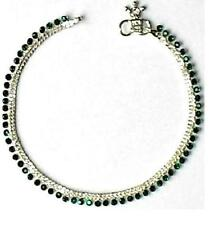 HEAVY SOLID SILVER GREEN DIAMOND ANKLE BRACELET INDIA