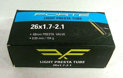 Forte Light Presta Tube 26x1.7-2.1 48mm Presta Valve 0.65mm//154g 50-5028 NEW