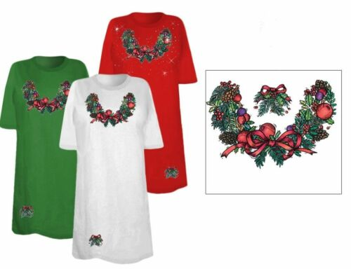 Holiday Decorative Christmas Holly T-Shirt Plus Size /& SUPER SIZE #TF-643