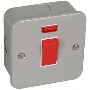 20A Double Pole 1 Gang Switch With Neon Metal Clad With Back Box