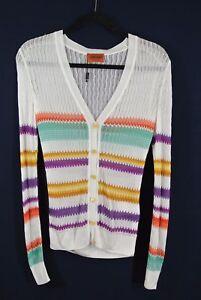 en au 38 Nouveau rayé crochet grecBlanc Taille Cardigan Missoni IDHE29
