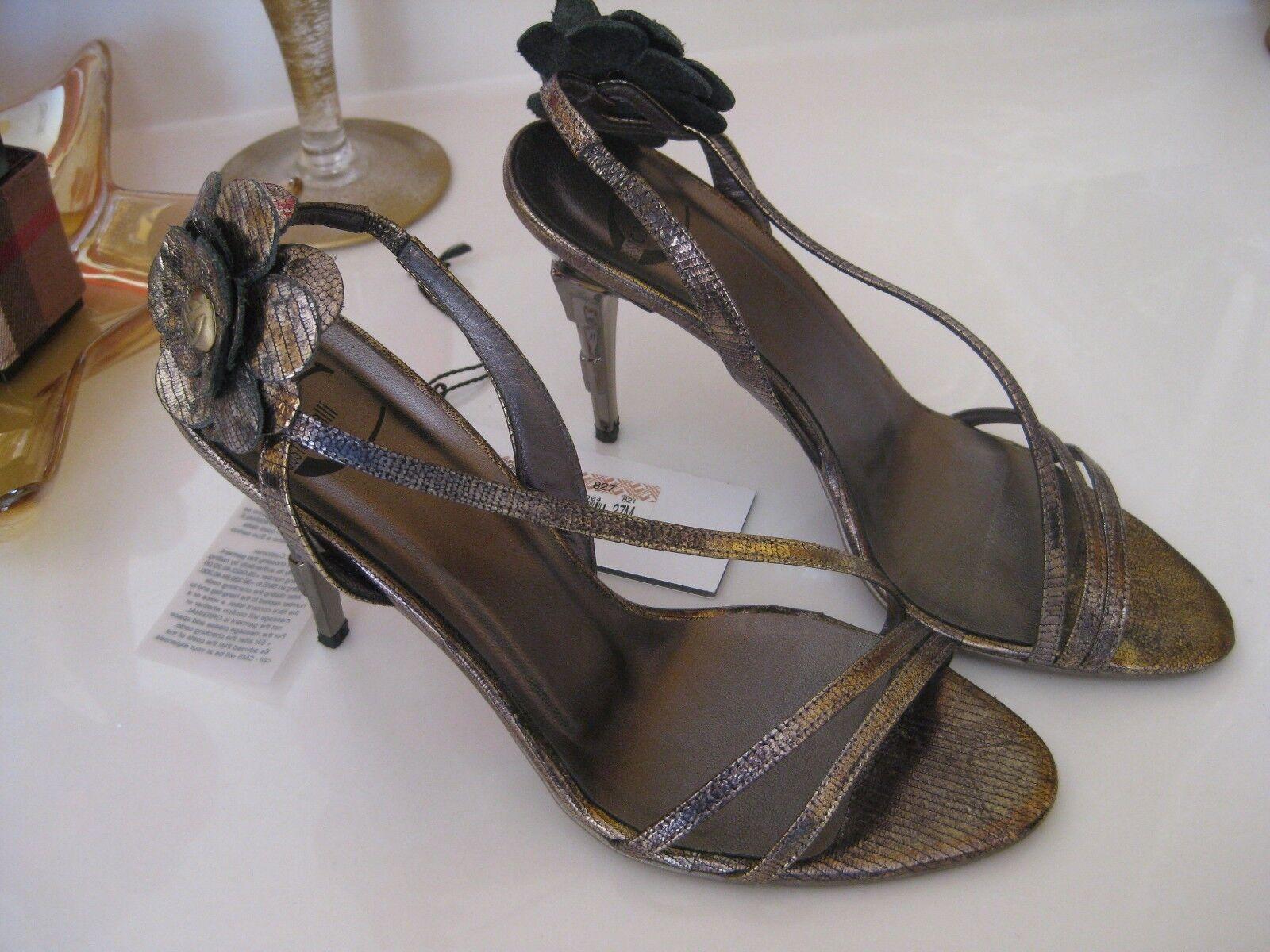 JUST CAVALLI Étain Chaussures Avec Fleur Accent 37.5 M