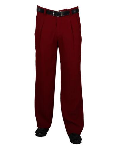 pieghe Pantaloni nello stile della 50er anno Lindy Hop Stile Nuovo Pantaloni uomo in rosso vinaccia