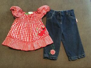 aefc9a0f509 Image is loading ADORABLE-SESAME-STREET-GINGHAM-DENIM-SUMMER-OUTFIT-SET-