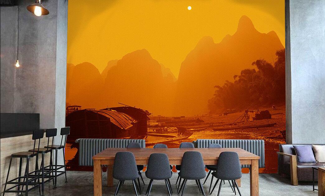 3D Dusk Fisherman 78  Wall Paper Murals Wall Print Wall Wallpaper Mural AU Kyra