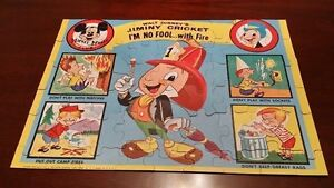 Jaymar Walt Disney Mickey Mouse Club Jiminy Cricket Don't Fool With Fire Puzzle