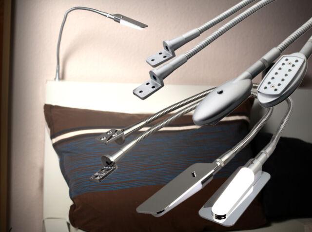 2x LED Bettleuchte Alu/Chrom Leseleuchten Aufbauleuchten Nachtlampe Art.2010-25