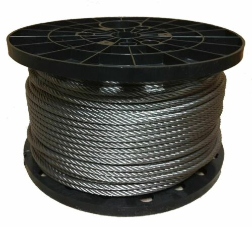 """1//4/"""" Stainless Steel Aircraft Cable Wire Rope 7x19 Type 316 200 Feet"""