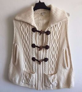 Lucky-Brand-Wool-Poncho-Vintage-Cardigan-Sweater-Cape-Retro-Toggles-Women-039-s-S