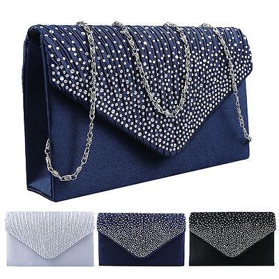 Womens Ladies Evening Satin Diamante Bridal Prom Party Clutch Bag Handbag Purse