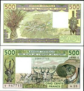 WEST AFRICAN STATE 500 FRANCS 1990 P 806T TOGO AUNC ABOUT UNC