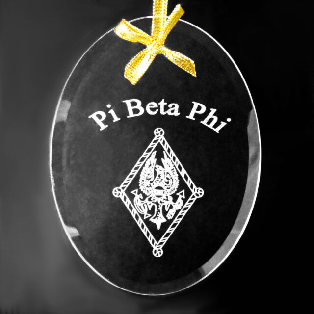 Pi Beta Phi, ΠΒΦ, Ornament/Sun Catcher Name & Crest Beveled Crystal Oval
