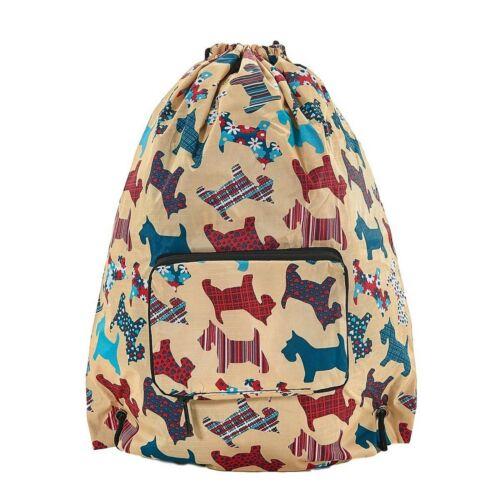 ECO CHIC foldable drawstring sling bag holds 10kg bee horse dog cat sheep sloth