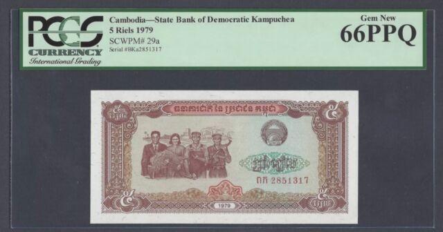 "Cambodia 5 Riels 1979 Pick# 29a PCGS: 66 PPQ ""Gem New""(#939)"