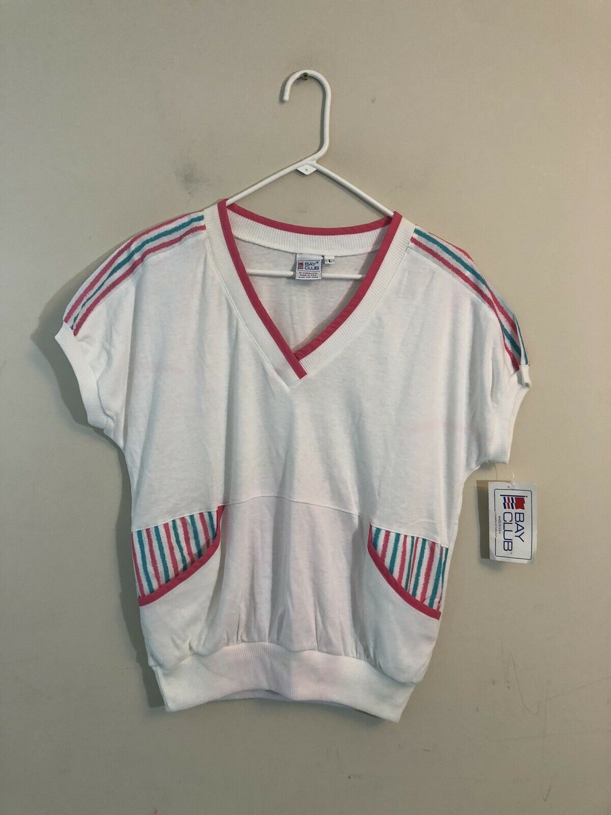Vintage Women's Catalina Bay Club White Top Made In USA NWT Size Large