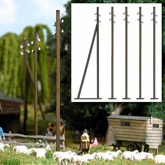 BUSCH 1569-5 poteaux télégraphiques bois véritable HO