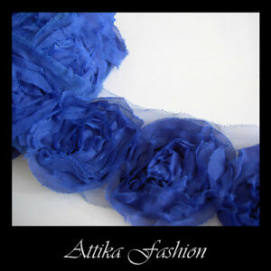 Blue-CHIFFON-Mesh-Frayed-LACE-FABRIC-TRIM-1y-12-Large-Flower-Appliques-Motifs