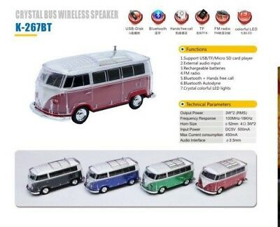 Bulli Bluetooth Lautsprecher Bulli Led Bt,mp3,usb,radio Musik Party Box Vw Bus Handy-zubehör
