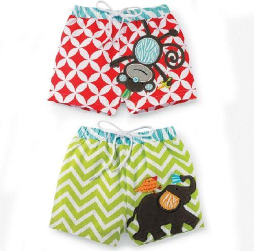 Mud Pie Safari Baby Geometric Monkey or Chevron Elephant Swim Trunks