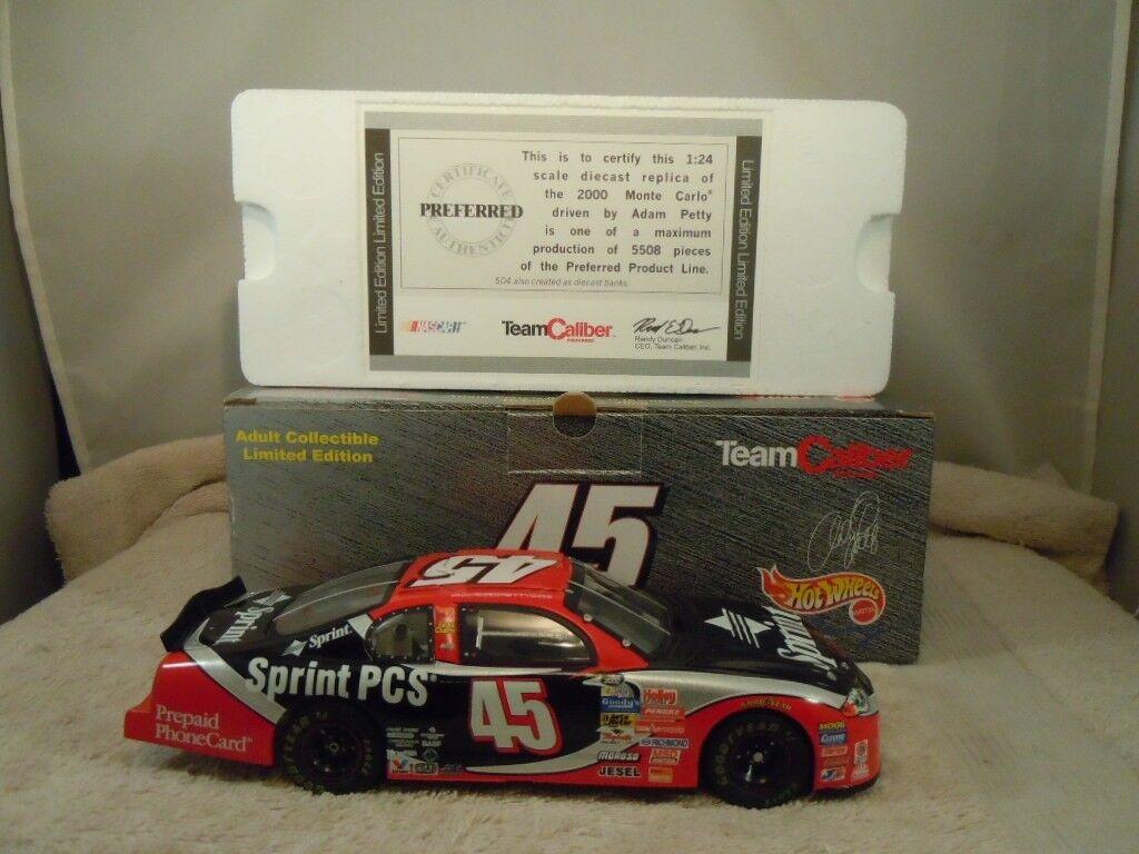 2000 Team Caliber  45 HOT WHEELS Adam Petty Sprint PIECES 1 24 Diecast voiture avec boite