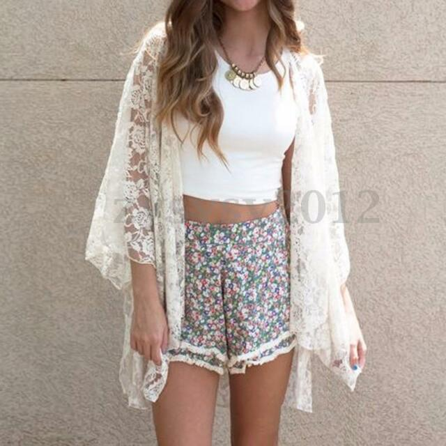 Uk Stock Women Summer Lace Crochet Kimono Tops Open Front Coat