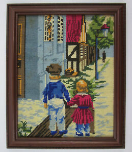 Vintage-Completed-Cross-Stitch-Young-Boy-and-Girl-Holding-Hands-Framed-10-x-12