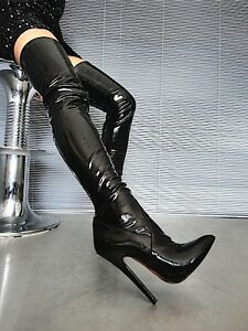 MORI OVERKNEE EXTREME HEELS ITALY STIEFEL BOOTS STRETCH LEATHER BLACK NERO 45