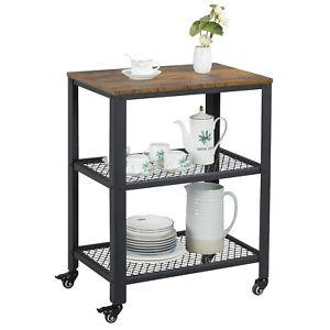 Details about 3-Tier Kitchen Utility Cart on Wheels Wood Trolley Sreving  Cart w/Storage Shelf