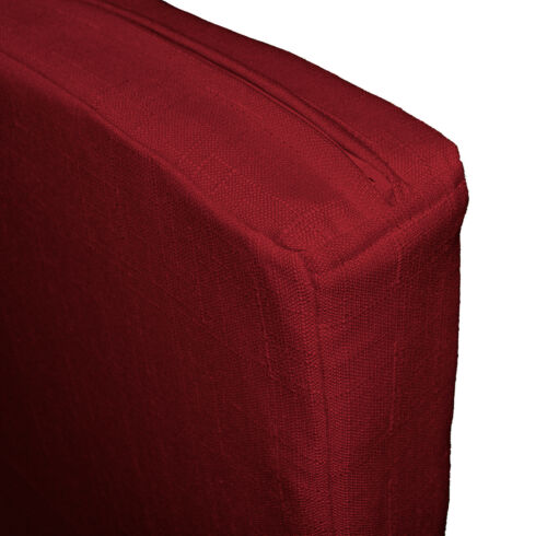 Qh15t Deep Red Thick Cotton Blend 3D Box Sofa Seat Cushion Cover Custom Size