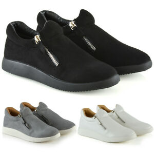 Womens-Fashion-Sneakers-Trainers-Shoes-Ladies-Flexi-Sole-Casual-Zip-Pumps-Size