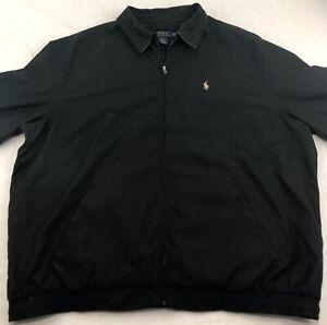 Polo-Ralph-Lauren-Harrington-Full-Zip-Jacket-Coat-Plaid-Lining-Black-Mens-XXL