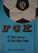 Programm EC 1989/90 FC Karl Marx Stadt - FC Sion