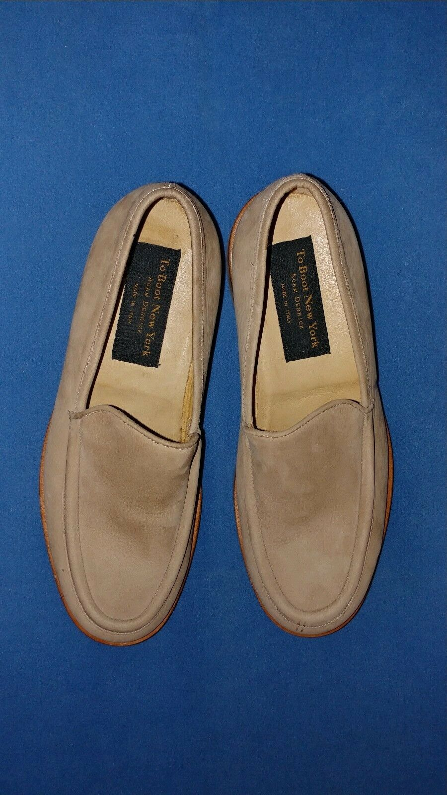 NWOB Made in  To Boot New York Men's Beige Leather Loafers Size 9.5