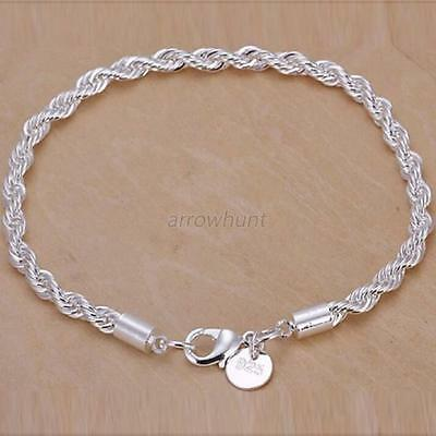 Fashion Women Twist Chain Bangle Silver Plated Bracelets Party Jewelry Gifts