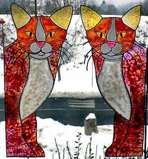 WICOART WINDOW COLOR STICKER CLING FAUX STAINED GLASS CORNER LOT 2 CHATS CATS