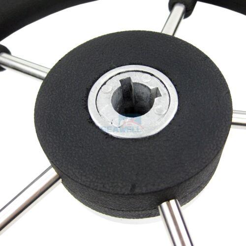 """13-1//2/"""" Boat Marine Steering Wheel PU Foam Stainless Steel Cap 5 Spoke 15 Degree"""