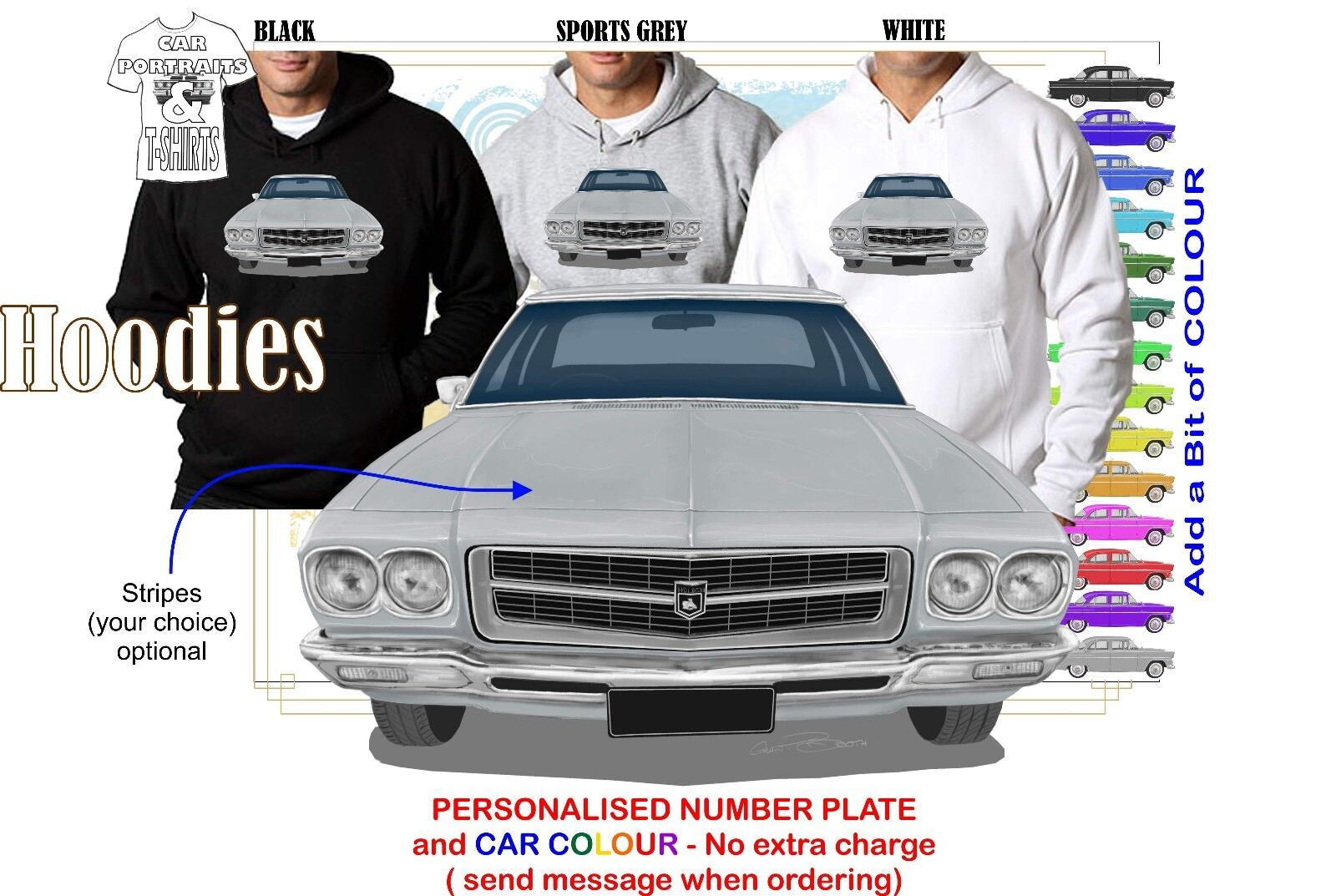 71-74 HQ PREMIER FRONT HOODIE ILLUSTRATED CLASSIC RETRO MUSCLE SPORTS CAR