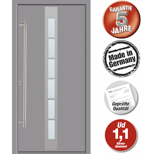 Hochwertige Energiespar Aluminium Haustür Grau Modell JWC08 NEU 5 J. Garantie