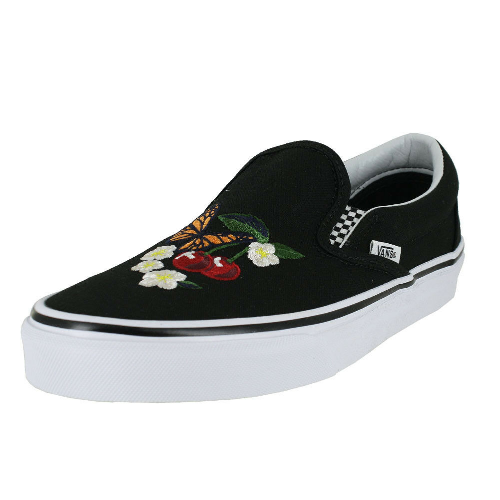 VANS U CLASIC SLIP ON CHECKER FLORAL BLACK  MENS US SIZES