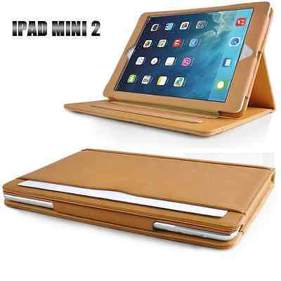 Tan Leather Stand Case Cover For Apple iPad mini 2